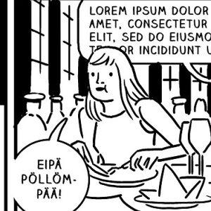 Mika Lietzenin luomaa sarjakuvataidetta.